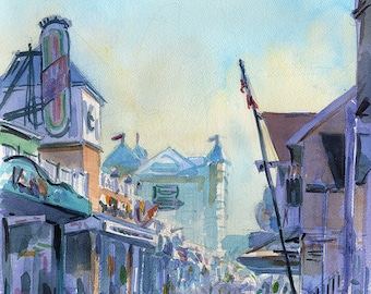 Ocean City, Maryland Boardwalk watercolor plein air painting, print in multiple sizes