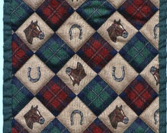 """Free US Shipping! Miniature Horses & Plaids #6003 Dollhouse Quilt or Rug 7.5"""" Square Great for OOAK Sculpt Doll"""