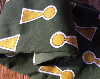 Vintage Dark Green Fabric with Unusual Keyhole Design/Funky Pillow Fabric