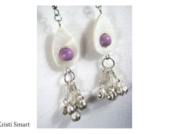 Shell and bell with a touch of lavender earrings E1-C