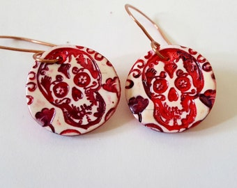 Reddish Pink Sugar Skull Earrings Copper Earwires