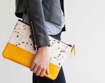 BAG SALE READY To Ship Splatter Print Clutch in Taxi Cab Yellow, Anna Joyce,