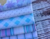 30%OFF SUPER SALE- Fat Quarter Bundle-Blue and Purple-Reclaimed Bed Linen fabric