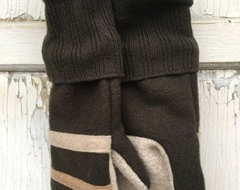 30%OFF SUPER SALE- Felted Wool Mittens-Retro Stripes-Men's-Brown Mittens