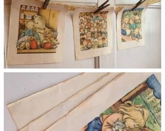 30%OFF SUPER SALE- Vintage Book Pages-Set of 3-Innocent Child-Altered Art