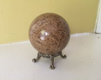 Stone Sphere with Tiny Metal Stand / Altar / Alabaster / Marble