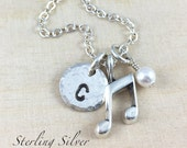 Sterling Silver Music Charm Necklace, Personalized With Initial Charm And Birthstone, Music Gift, Sterling Silver Music Jewelry
