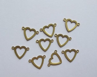 ON SALE Vintage brass heart cutout charms