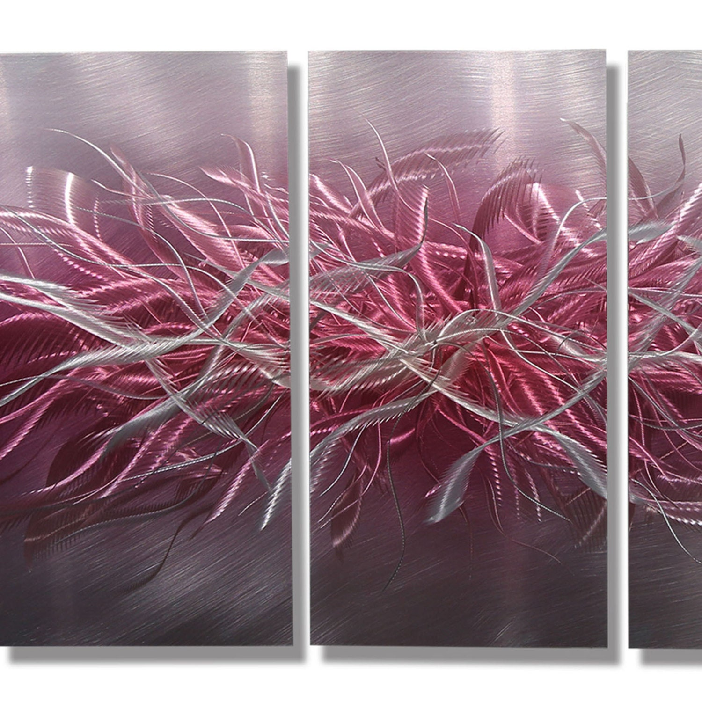 NEW Pink & Silver Abstract Metal Wall Art Modern Metal