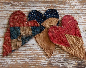 Primitive Heart Ornaments, Rustic Christmas Ornaments, Antique Quilt Hearts Tattered Hearts, Red White Blue Stars (Set of 3) - READY TO SHIP