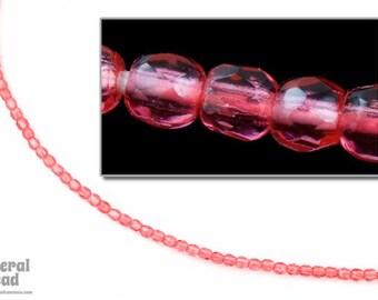 3mm Transparent Rose Fire Polished Bead (50 Pcs)  #FPX105