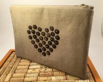 Zipper Clutch / iPad Sleeve / Heart design/ Zippered Clutch / One of a Kind Purse / Clutch Purse / Woman's gift