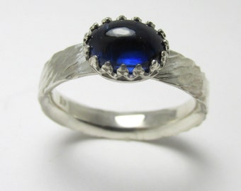 Kyanite cabochon Nepal Polished Sterling Silver rough bark finish ring 1.81cts Size 8