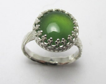 Serpentine cabochon Sterling Silver Polished rough bark finish ring 6.45cts Size 7 1/2