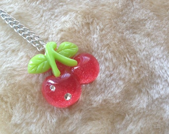 SALE Hot Pink Cherries Charm Necklace