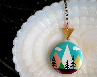 modern mountains forest scene locket- midcentury style- vintage brass- long chain