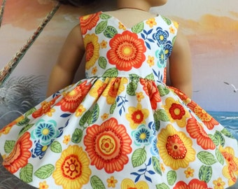18 Inch Doll Dress Clothes Handmade Orange Mod Florals With Curved V Neckline NEW