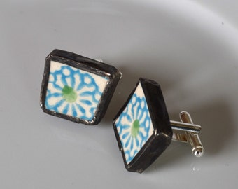 Broken China Cuff Links - Green and Blue