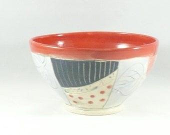 Red Salad Bowl  - Personal size holds 24 ounces , soup bowl salad bowl key bowl serving dish artistic decoration 386