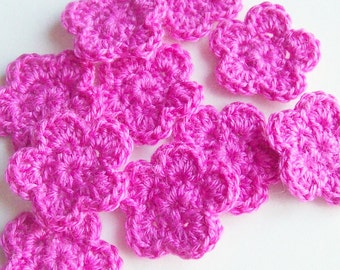 Mini Crochet Flower Appliques, Pink Flower, Flower Embellishment, Scrapbooking, Miniature Flower, Set of 10, Crochet Flower Motif