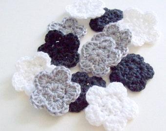 Mini Crochet Flower Appliques, Black Gray and White Embellishment, Scrapbooking, Miniature Crochet Flower, Crochet Flower Motif