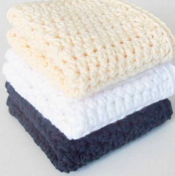 Cotton Crochet Dishcloths, Black Dishcloth, White Dishcloth, Cream Dishcloth, Cleaning Cloth, Ecofriendly, Reusable on Etsy