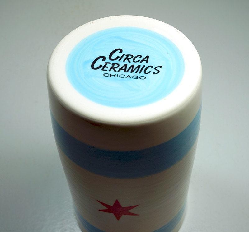 cylinder vase / utensil holder with the Chicago Flag - Made to Order