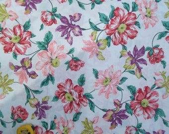 Vintage Peter Pan Bright Multi Color Floral 100% Cotton 45 inches Wide Per Yard Quilt