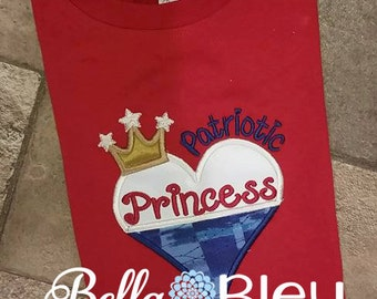 4th of July shirt, 4th of July Patriotic shirt, fourth of July Patriotic Princess shirt, Custom Embroidered 4th of July shirt