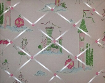 ON SALE GRACE Princess Girls Pink Green French Message Board with Pottery Barn Kids fabric, Any Color Ribbons Buttons Available