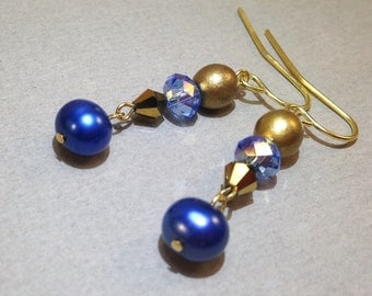 Blue pearl and AB Czech glass gold earrings