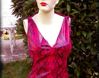 Magenta red SNAKE woman TOP / hot gift idea / fetish witch punk burlesque You Bad Girl handmade fashion emo morticia circus rock halloween