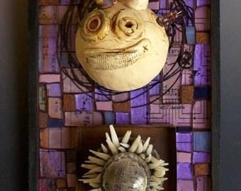 Violet Robot Totem  Glass Mosaic