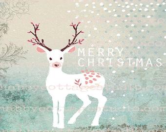 Digital Christmas Card - Christmas Card and Envelope Template - Digital Download - Christmas Deer - Instant Download - Digital Christmas