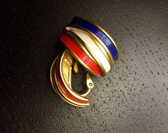 Vintage Napier Red Blue and White Enamel On goldtone clipon earrings - classy and patriotic