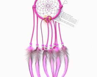 Hot Pink Dream Catcher, Laced Rooster Feathers