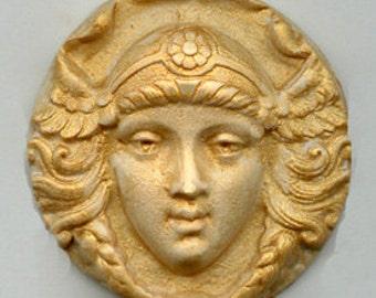 Polymer  Clay Gold Highlighted Art Nouveau Maiden Cab  GAN 1