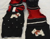Upcycled sweater scarf in red, black and white, with Scottie Dogs!