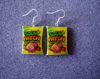Sour Patch Kids Candy Dangle Polymer Clay Junk Food Earrings Hypo Allergenic Nickle-Free