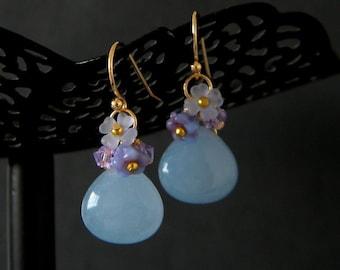 Pale Blue Jade Violet Swarovski Flower Earrings