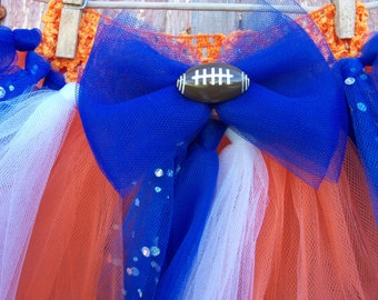Size 2T-6 Football Inspired Tutu with Matching Hair Bow