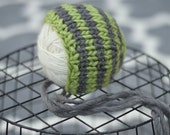 50% OFF  Green & Gray Newborn Stripe Bonnet