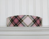 Pink and black plaid headband - Fabric Headband - Flannel Headband - Womens Headband - Womens Hair Accessories