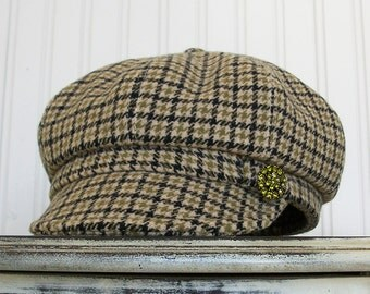 Womens Newsboy Hat, Wool Newsboy Cap, Womens Winter Hats, Taupe Plaid Wool - MADE TO ORDER