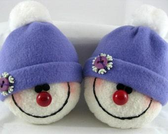 Handmade Snowman Ornaments, Christmas Decoration, Set of 2 Snowman Decorations, Stuffed Snowhead, Christmas Ornaments, Purple Fleece