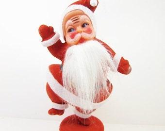 ON SALE Vintage Flocked Plastic Santa Christmas Holiday Decoration Red Retro Bearded 9 Inch