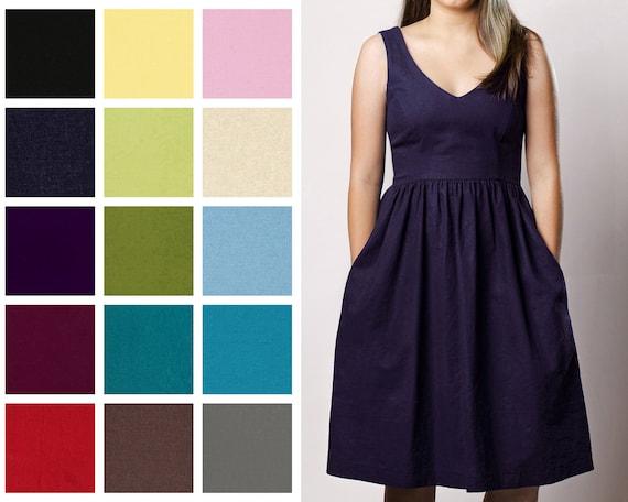Linen Blend V-Neck Dress With Pockets Vintage Inspired Fit