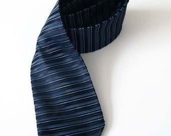 Vintage Mens Necktie - Blue, Grey and Black Striped 60s Tie