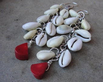 Sale Long Silver Chain Earrings Cowrie Shells Red Coral Dangle Earrings Tribal SydneyAustinDesigns