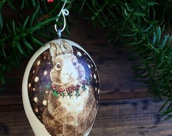 Christmas bunny egg gourd ornament